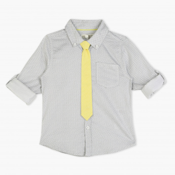 Juniors Printed Long Sleeves Shirt and Neck Tie