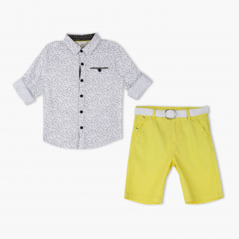 Juniors Printed Shirt and Short Set