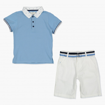 Juniors Polo Neck T-Shirt with Shorts Set