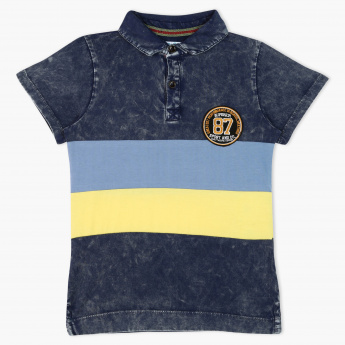 Juniors Striped Polo Neck Short Sleeves T-Shirt