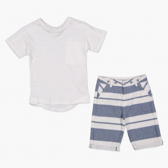 Eligo Short Sleeves T-Shirt and Striped Shorts Set