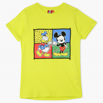 Mickey Mouse and Donald Duck Printed Round Neck T-Shirt