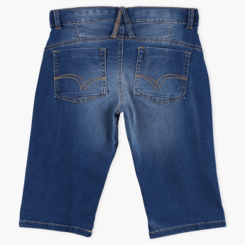 Lee Cooper Distressed Shorts with Button Closure and Applique Detail