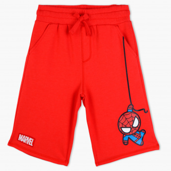 Spider-Man Printed Shorts with Pocket Detail