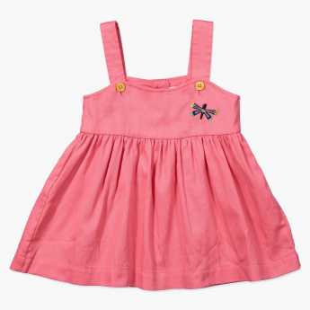 Juniors Embroidered Pinafore Dress
