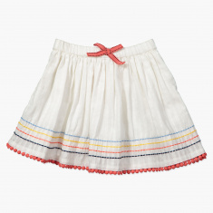 Embroidered Elasticised Waistband Skirt