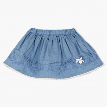 Giggles Denim Skirt with Lace Detail