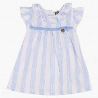 Giggles Striped Round Neck Dress with Hairband