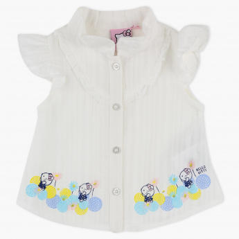Hello Kitty Printed Cap Sleeves Shirt