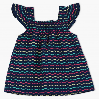 Juniors Striped Top with Ruffled Straps