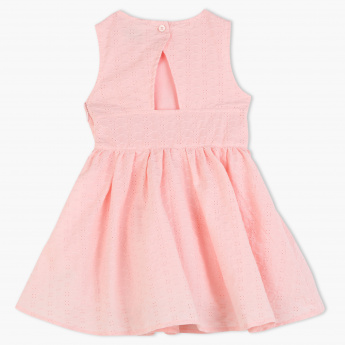 Juniors Sleeveless Schiffli Dress