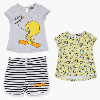 Tweety Printed T-Shirt and Shorts - Set of 3