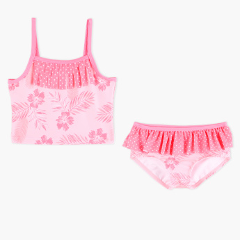 Juniors Floral Printed 2-Piece Tankini Set