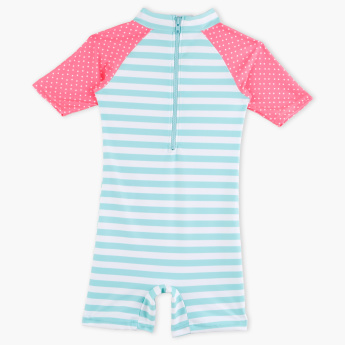 Juniors Striped Romper Swimsuit