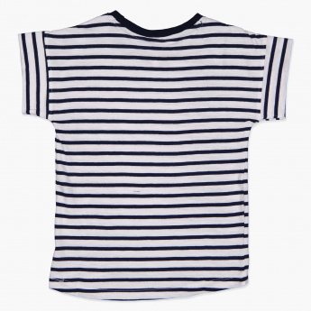 Juniors Striped Round Neck T-Shirt