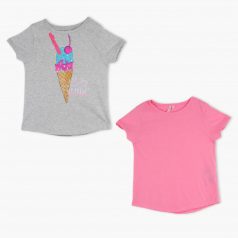 Juniors Cap Sleeves T-Shirt - Set of 2