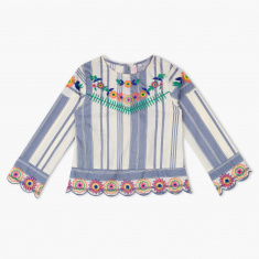 Juniors Embroidered Round Neck Top