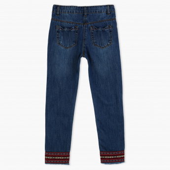 Juniors Full Length Jeans with Fringed Cuffs