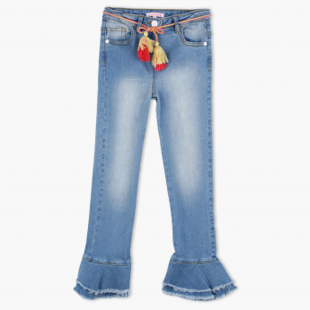Juniors Full Length Jeans with Tassel Detail