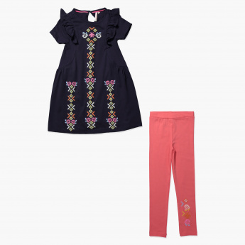 Juniors Printed Dress and Leggings Set