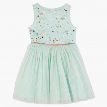 Juniors Sleeveless Dress with Mesh Overlay