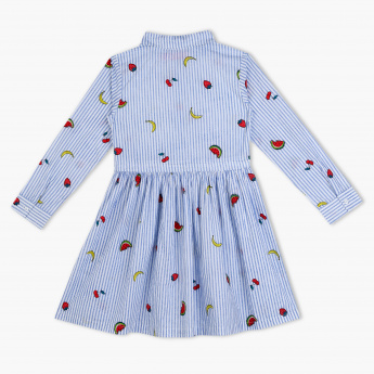 Juniors Printed Spread Collar Dress