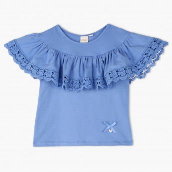 Eligo Lace Detail Round Neck T-Shirt