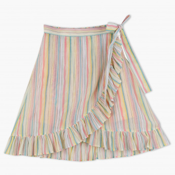 Posh Striped Frill Detail Skirt