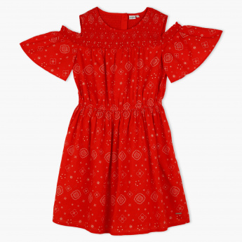 Lee Cooper Printed Cold Shoulder Dress