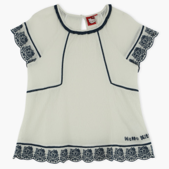 Hello Kitty Embroidered Round Neck Top