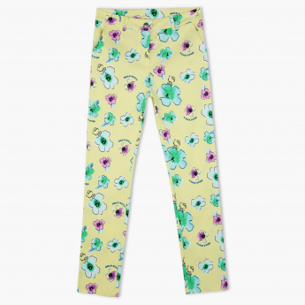 18f102aa5931a Hello Kitty Printed Full Length Pants with Button Closure | Yellow | Pants