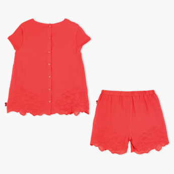 Hello Kitty Embroidered Top and Shorts Set