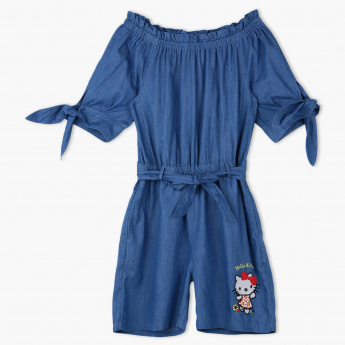 Hello Kitty Embroidered Denim Playsuit