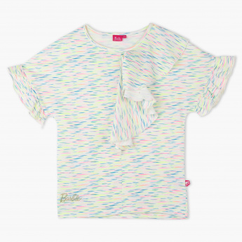 Barbie Printed Ruffle Detail T-Shirt