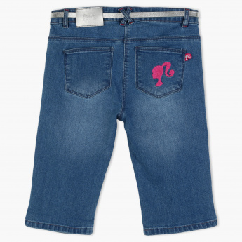 Barbie Embroidered Shorts with Button Closure