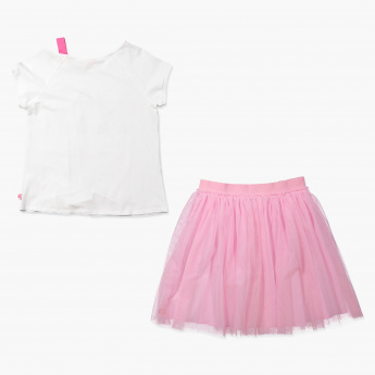 Barbie Printed T-Shirt and Skirt Set