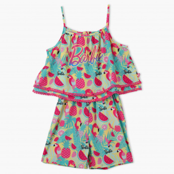 Barbie Printed Spaghetti Strap Playsuit