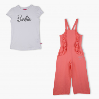 Barbie Sequin Detail T-Shirt and Jumpsuit Set