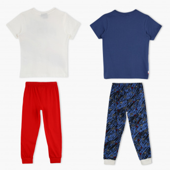 Cars Printed T-Shirt and Pyjama - Set of 2