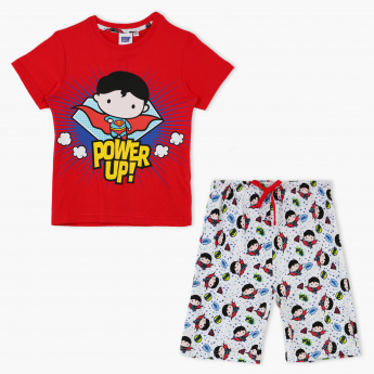 e4a808fcc Superman Print T-Shirt and Shorts Set