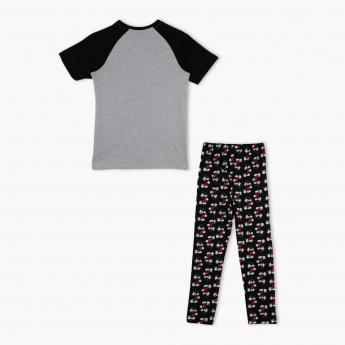 Mickey Mouse Printed Round Neck T-Shirt and Pyjama Set