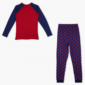 FC Barcelona Printed T-Shirt and Jog Pant Set