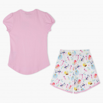 Disney Princess Printed T-Shirt and Shorts Set