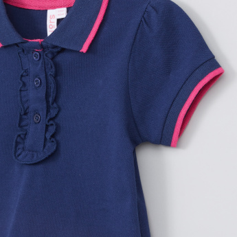 Juniors Ruffle Detail T-shirt with Polo Neck and Short Sleeves
