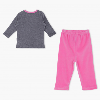 Juniors Embroidered Round Neck Long Sleeves T-Shirt and Pyjama Set