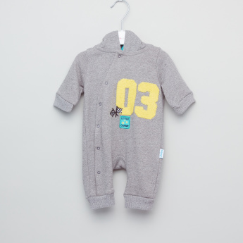Juniors Embroidered Applique Detail Long Sleeves Hooded Sleepsuit