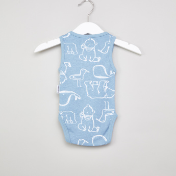 Juniors Printed Sleeveless Bodysuit