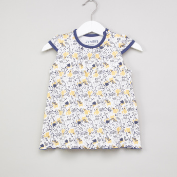 Juniors Cat Printed Cap Sleeves Dress
