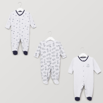Juniors Printed Sleepsuit with Button Closure - Set of 3