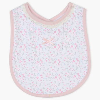 Juniors Printed Bib with Bow Detail and Button Closure